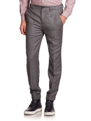 Melindagloss Flat Front Italian Virgin Wool And Cashmere Pants Dark Grey