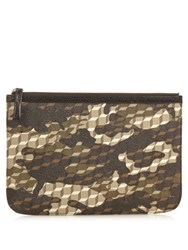 Pierre Hardy Cube And Camouflage Print Coated Canvas Pouch Black Multi
