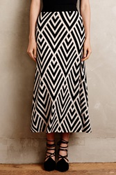 Maeve Peaked Chevron Maxi Skirt Black And White