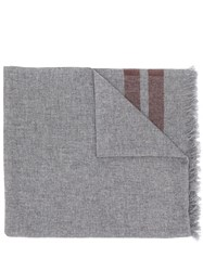 Brunello Cucinelli Stripe Trim Scarf Grey