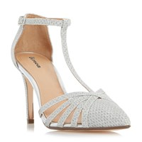 Linea Dilila Strappy T Bar Court Shoes Silver