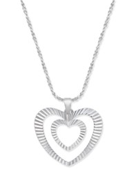 Giani Bernini Double Heart Pendant Necklace In Sterling Silver 18 2 Extender Created For Macy's