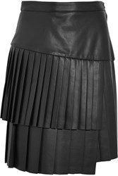 Adam By Adam Lippes Pleated Leather Mini Skirt Black