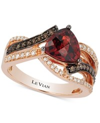 Le Vian Chocolatier Pomegranate Garnet 2 1 10 Ct. T.W. And Diamond 3 8 Ct. T.W. Ring In 14K Rose Gold Red