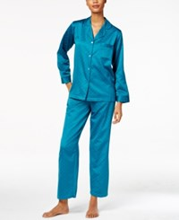 Miss Elaine Jacquard Dot Brushed Back Satin Pajama Set Teal