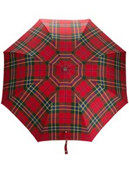 Alexander Mcqueen Plaid Printed Umbrella Red