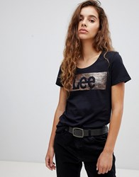 Lee Foil Logo T Shirt Black