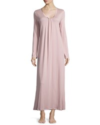 Hanro Astrid Long Sleeve Knit Gown Rose Dust