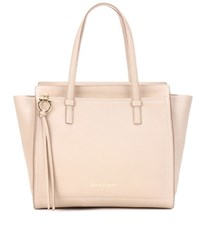 Salvatore Ferragamo Large Amy Leather Tote Beige