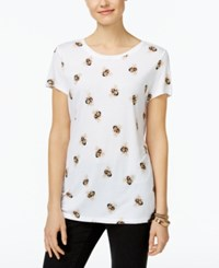 Inc International Concepts Embellished Bee Print T Shirt Only At Macy's Bright White