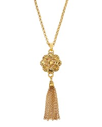 Jose And Maria Barrera Long Golden Tassel Pendant Necklace Women's