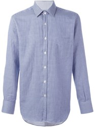 Canali Gingham Check Shirt Blue