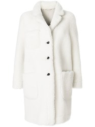 Thom Browne Reversible Dyed Shearling Sack Overcoat White