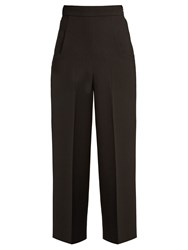 Roland Mouret Ward High Rise Wool Crepe Cropped Trousers Black
