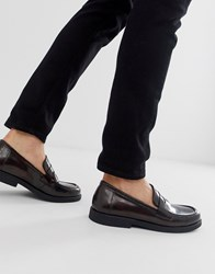 Zign High Shine Loafers In Burgundy Red