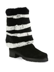 Stuart Weitzman Blizzard Stripe Mink Fur And Suede Boots Black White
