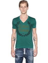 Dsquared Caten Twins Cotton Jersey V Neck T Shirt