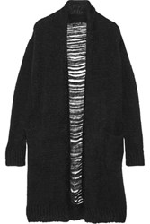 Current Elliott The Long Slash Pocket Distressed Alpaca Blend Cardigan Black
