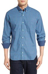 Tailorbyrd Men's 'Himalayas' Plaid Sport Shirt Turquoise