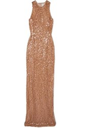 Galvan Metallic Sequined Tulle Gown Copper