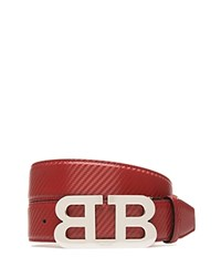 Bally Mirror B Buckle Carbon Leather Belt Red