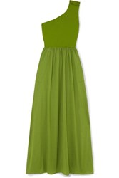 Eres Pop Bay Button Detailed One Shoulder Cotton Jersey Dress Green