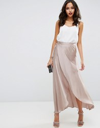 Asos Maxi Wrap Skirt In Satin Taupe Grey