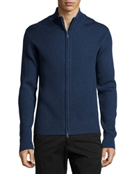 Neiman Marcus Ribbed Zip Front Sweater Cosmos