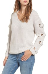 Dreamers By Debut Grommet Sleeve Sweater Light Grey