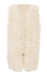 Nanna Van Blaaderen Loop Knit Shaggy Long Vest White