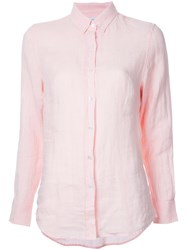 Venroy Button Down Shirt Women Linen Flax M Pink Purple