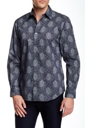 Perry Ellis Print Geo Paisley Long Sleeve Shirt Blue