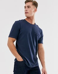 Selected Homme Boxy Fit T Shirt In Ribbed Cotton Navy