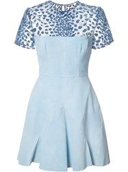 Alex Perry Sheer Panel Flared Dress Blue