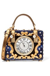Dolce And Gabbana Box Crystal Embellished Ayers Trimmed Painted Wood Clutch Blue