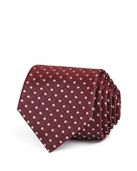 Theory Square Grid Skinny Tie Dark Red