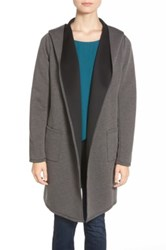 Bobeau Hooded Neoprene Coat Gray