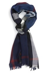 Men's Burberry Check Wool And Cashmere Scarf Blue Navy