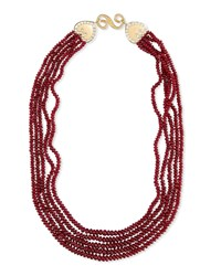 Splendid Five Strand Smooth Ruby Necklace