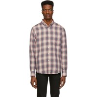 Naked And Famous Denim Grey Pink Plaid Double Cloth Easy Shirt