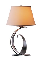 Hubbardton Forge Fullered Impressions Large Table Lamp Dark Smoke Doeskin Suede Gray
