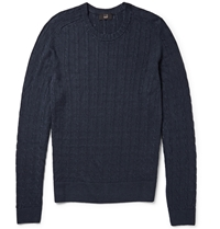 Dunhill Cable Knit Linen And Cashmere Blend Sweater Blue