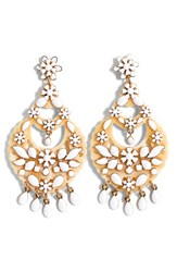 J.Crew Women's Floral Chandelier Earrings Ivory