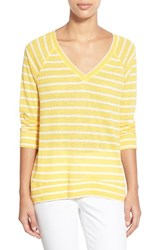 Women's Caslon Stripe V Neck Sweatshirt Yellow Ivory Stripe
