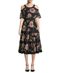 Kate Spade Vintage Bloom Shane Dress W Cold Shoulder Black