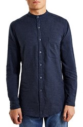 Men's Topman Slim Fit Brushed Twill Band Collar Shirt