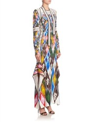 Peter Pilotto Long Sleeve Tie Neck Printed Gown Argyle