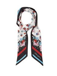 Dolce And Gabbana Floral Print Silk Scarf Red Multi