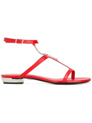 La Perla Beach Chain Sandals Women Leather Metal 37 Red
