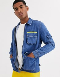 Brooklyn Supply Co. Co Overshirt With Pocket Detail In Blue